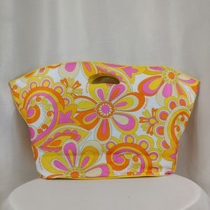 Clinique Large Pink & Yellow Floral Tote
